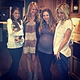 Haylie Duff shared a photo while hanging with her celebrity friends Lacey Chabert, Kaley Cuoco, and a pregnant Beverley Mitchell. Source: Instagram user haylieduff