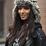 A periwinkle cat eye was the perfect accent to model Jourdan Dunn's casual look. Source: Le 21ème   Adam Katz Sinding