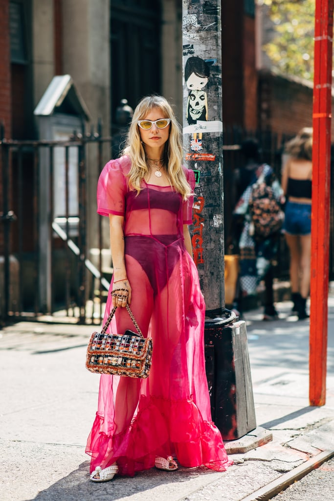 Styling a pink sheer dress with black undergarments.