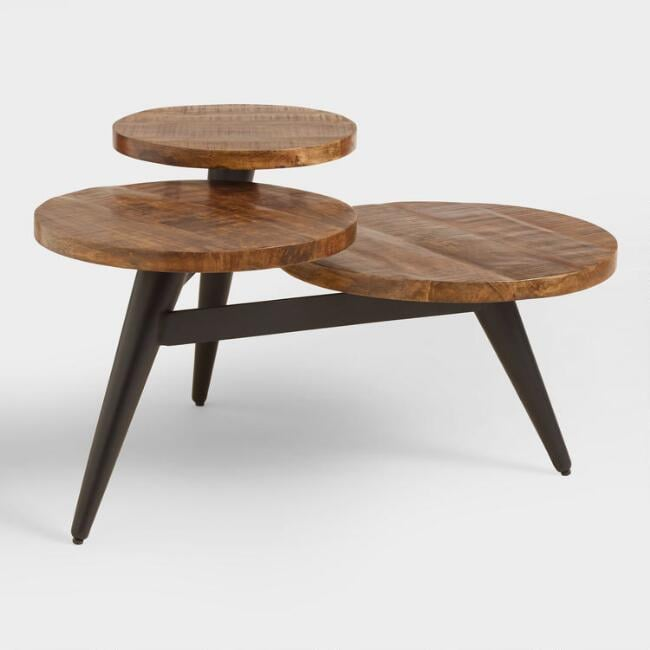 Wood and Metal Multilevel Coffee Table