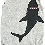 Shark Printed Cotton Jersey Bodysuit