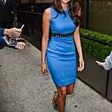 Nina Dobrev made looking chic seem easy in this brilliant cobalt Versace sheath for an appearance at CW's upfronts this week.