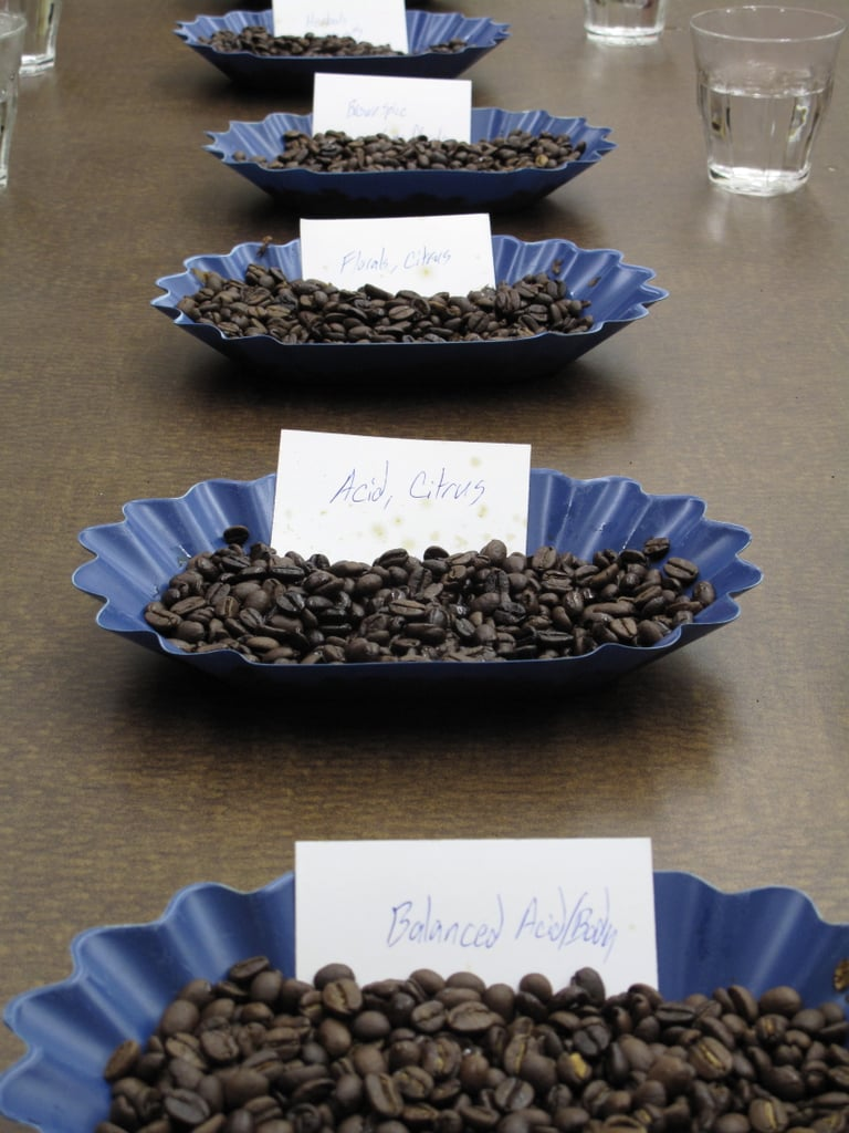 In our second cupping session, rather than comparing coffees by origin, we compared them by flavor profiles: Acid and citrus, floral and citrus, earthy, etc., and noted the distinctions.