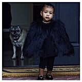 North West Wearing a Furry Coat and Kitten Flats