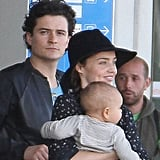 Orlando Bloom, Miranda Kerr, and Flynn Bloom in Paris.