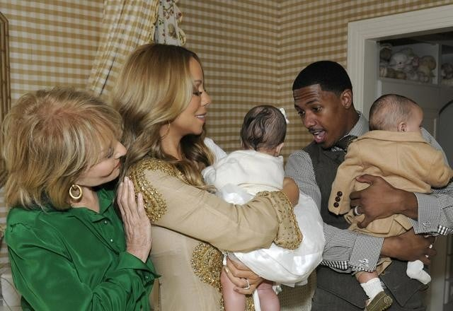 """Mariah Carey and Nick Cannon held their son Moroccan and daughter Monroe during a recent taping of 20/20 at Mariah and Nick's NYC apartment with Barbara Walters. The twins will make their TV —and world! — debut when the show airs this Friday on ABC. Mariah and Nick welcomed their first children in April and have kept them out of the spotlight since. Mariah did share a picture of her daughter, Monroe, on Twitter over the Summer, though it didn't show her precious face. Mariah has since been busy getting back in shape and she showed off her postbaby body during a trip to the beach in August. She's also made time for her singing career and will release a new version of her hit holiday song """"All I Want For Christmas Is You"""" with Justin Bieber next month. Nick, meanwhile, is a highlight of the new comedy hit Up All Night, on which his character has a knack with kids."""