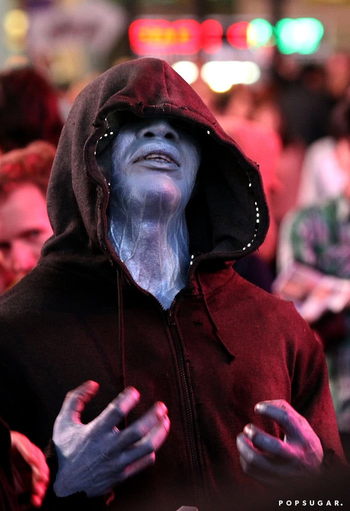 Jamie Foxx put on his blue face to play the villain Electro in scenes for The Amazing Spider-Man 2 in NYC on Monday.