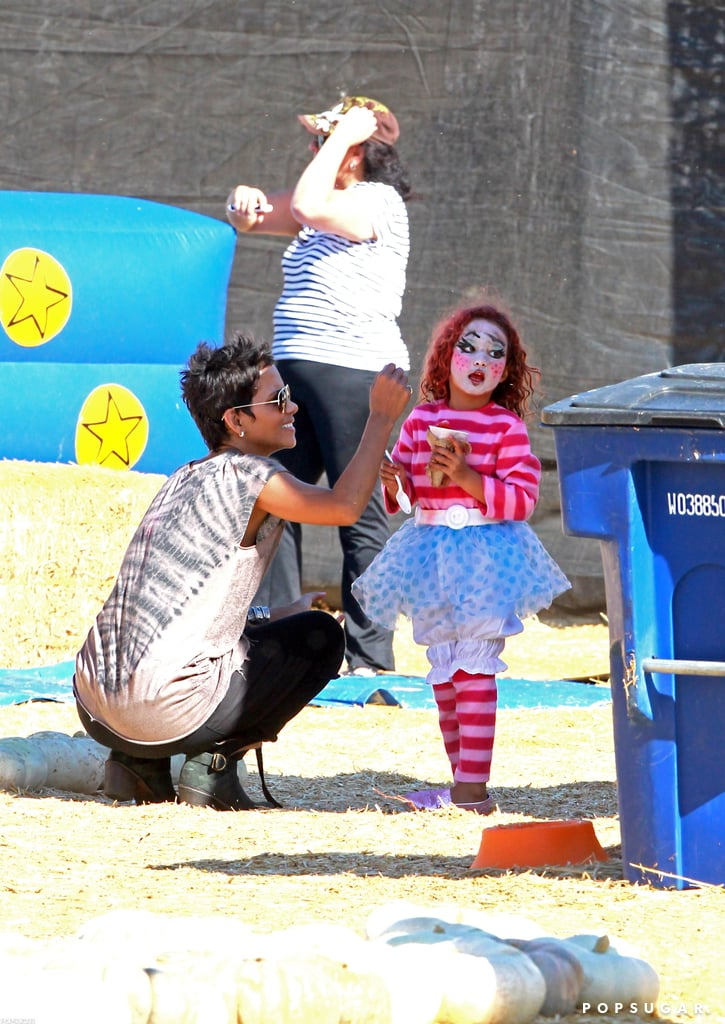 Halle Berry and Nahla Aubry Slip and Slide Into Halloween Fun