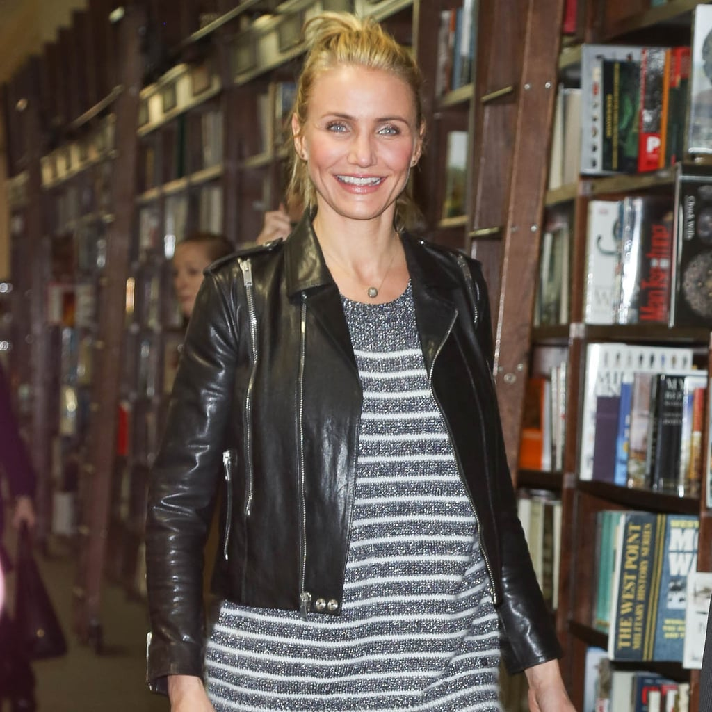 Cameron Diaz's Striped Gray Sweater Outfit