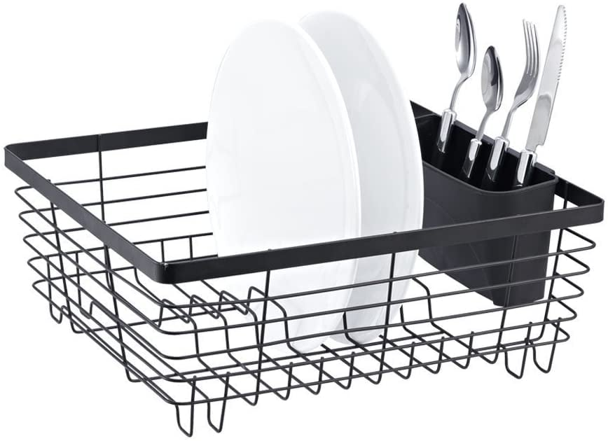 Stylish Sturdy Oil-Rubbed Bronze Metal Wire Small Dish-Drainer Drying Rack