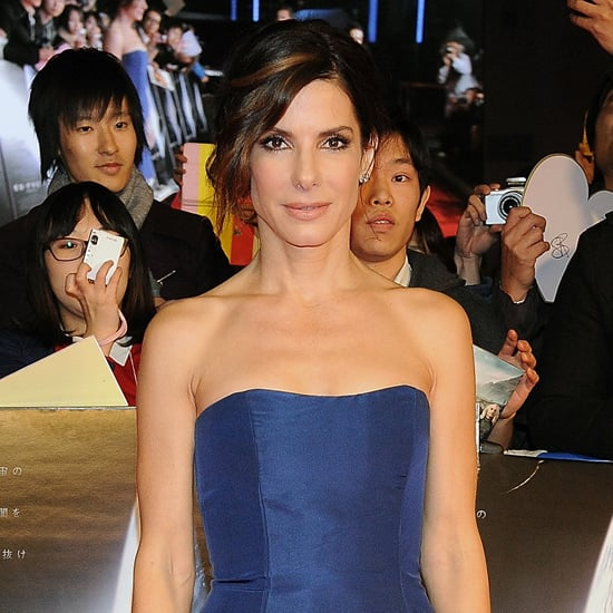 Sandra Bullock Blue Dress at Gravity Premiere
