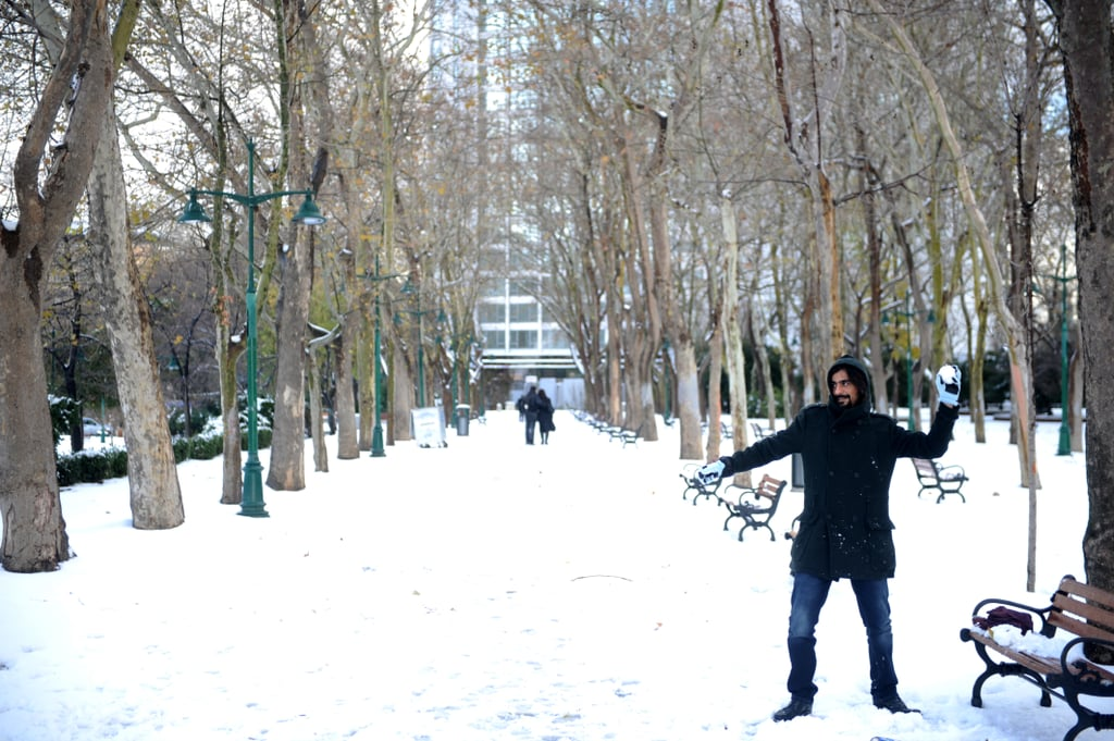 A man in Istanbul, Turkey, threw snowballs.