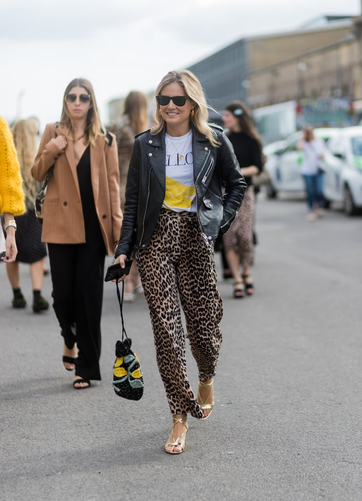 A Graphic Tee and Leather Jacket Might Be the Most Classic Match For Leopard Pants