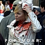 Kelli Giddish filmed a bloody scene for Law and Order: SVU in NYC on Wednesday.