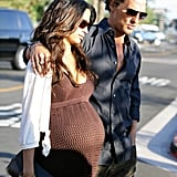 Matthew McConaughey wrapped his arm around pregnant Camila Alves while out in LA in June 2008.