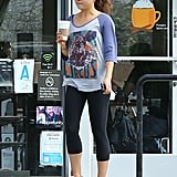 Mila Kunis grabbed a coffee after a yoga class.