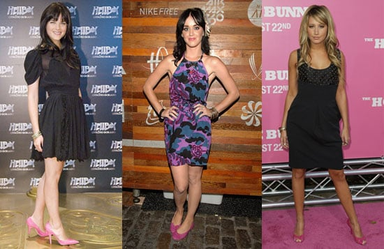 Selma Blair, Katy Perry, and Ashley Tisdale Wearing Pink Shoes