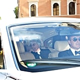 Bernie Ecclestone rode with his daughter to the ceremony.