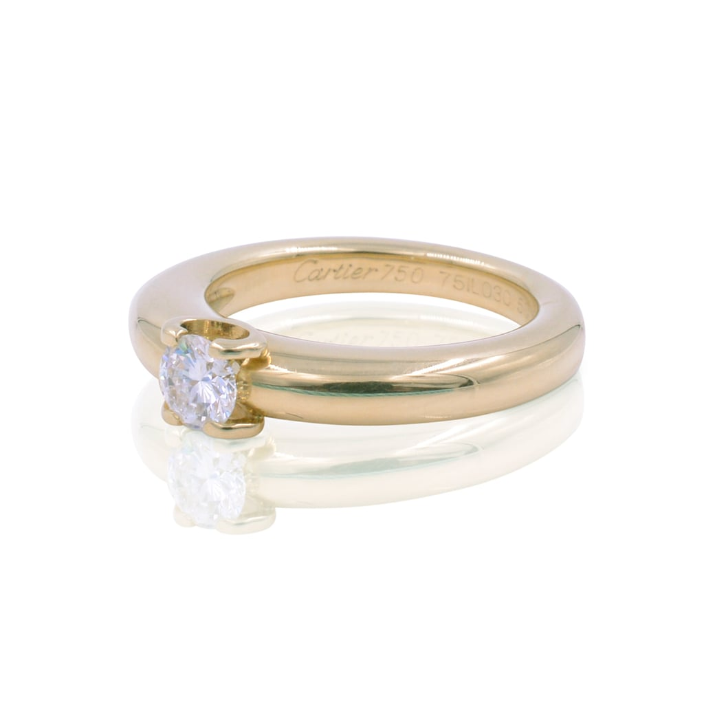 Cartier 18K Yellow Gold Round Cut Diamond Engagement Ring