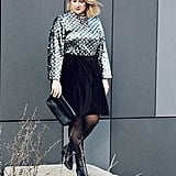 A Sequined Shirt With a Velvet Skirt and Tights