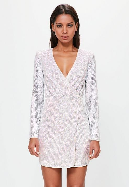 Missguided Silver Pearlescent Wrap Plunge Mini Dress