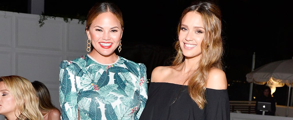 Jessica Alba Cradles Her Sweet Baby Bump While Hanging Out With Chrissy Teigen