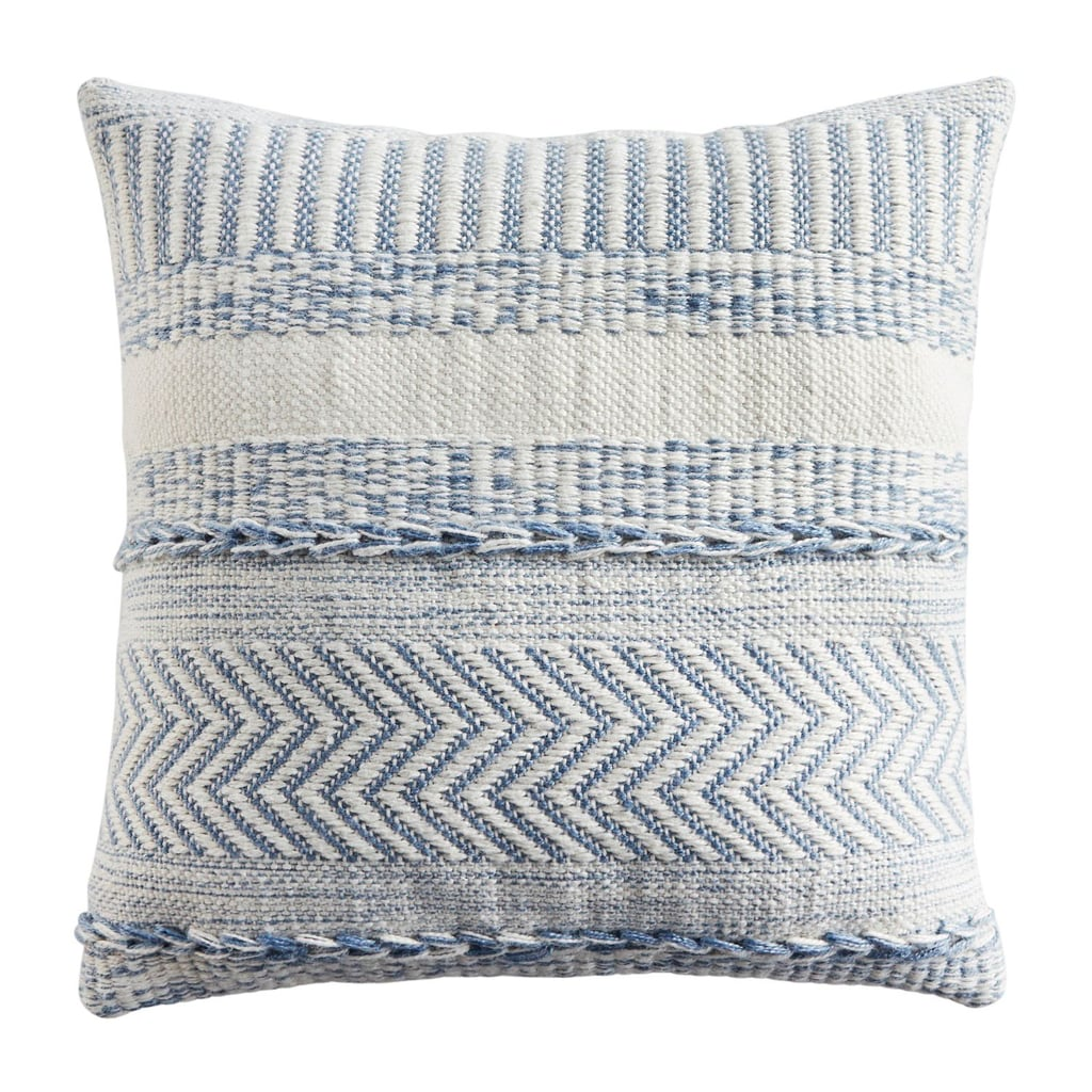 Farmhouse Striped Square Mineral Blue Pillow