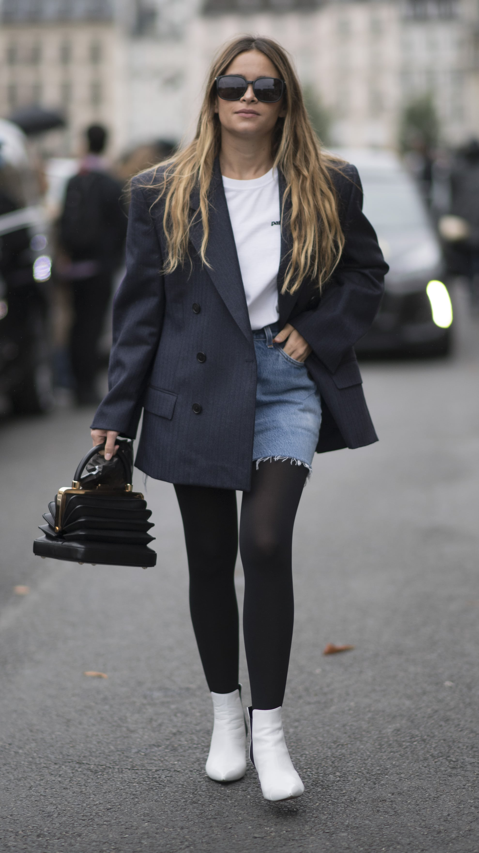 authentic quality outlet on sale special sales Wear Thick Black Tights With Your Distressed Denim Skirt ...