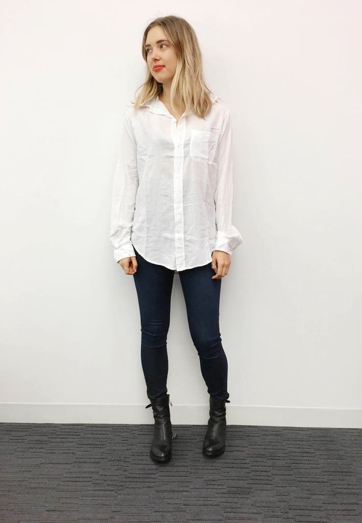 This shirt had so much potential: a casual white button-down that was just the right amount of sheer. Sadly, maybe due to my mishandling or maybe just the nature of the fabric, it was totally wrinkly. I felt a little too unprofessional in this one.  Wearing:   Current/Elliott The Prep School Shirt ($186) Frame Denim Le Skinny de Jeanne Jeans ($200)