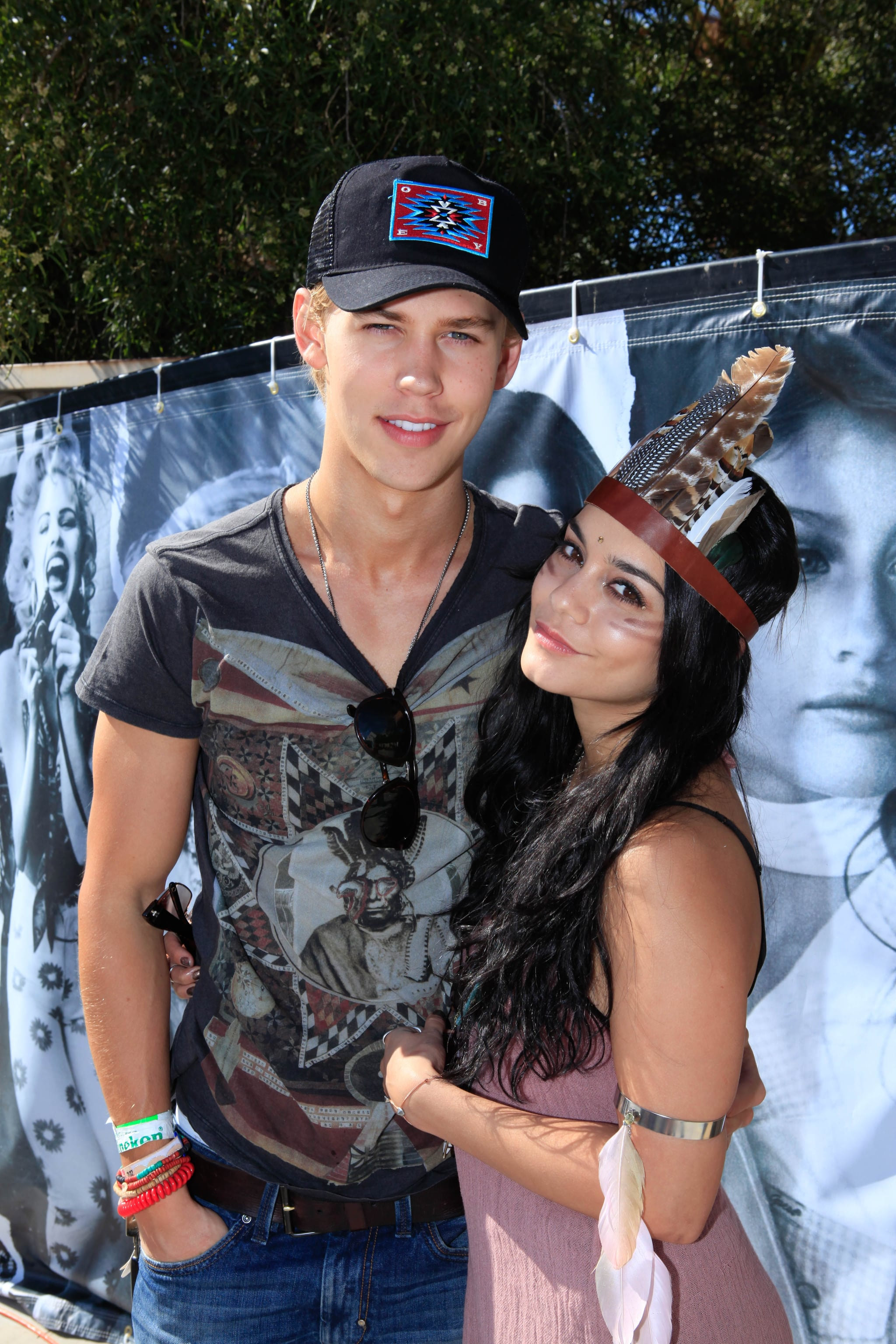 Vanessa Hudgens and her boyfriend Austin Butler cosied up during Guess's pool party in 2012.