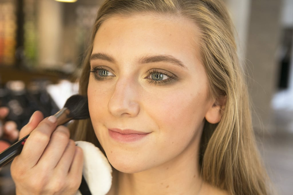 Even though your cheeks are already contoured with bronzer, make sure to give them a hint of flushed color by applying blush to the apples of your cheeks.