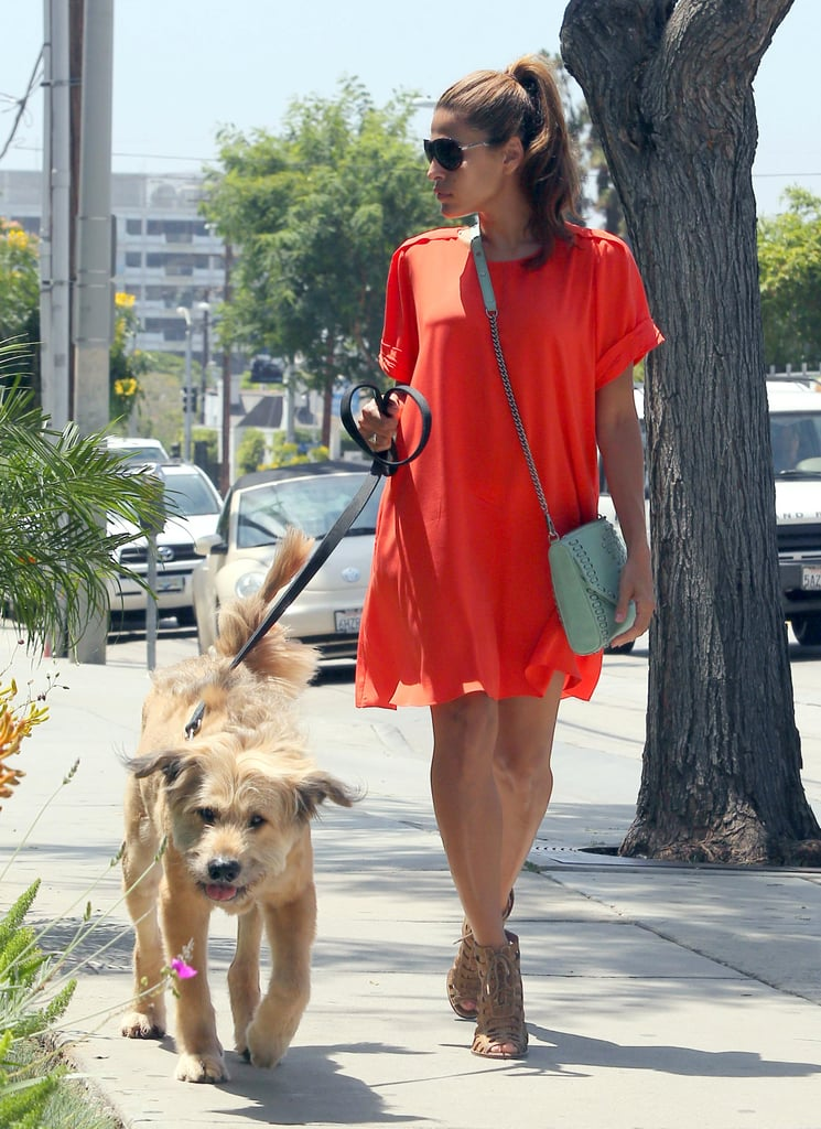 Ryan Gosling's dog, George, led the way for Eva Mendes during a walk around LA yesterday. Eva took care of the pup and also tended to her hair with a trip to a salon during the outing. Eva's hanging out on the West Coast while Ryan was in New Orleans.  They're gearing up for the Toronto International Film Festival debut of their movie, The Place Beyond the Pines, in early September. Ryan, Eva, and their costar Bradley Cooper are expected at the annual event, which takes place in Ryan's home country of Canada. Ryan's already showed Eva around up North when the duo visited Ryan's mom, Donna, in June. They celebrated Donna's graduation and also took time to go sightseeing at Niagra Falls.