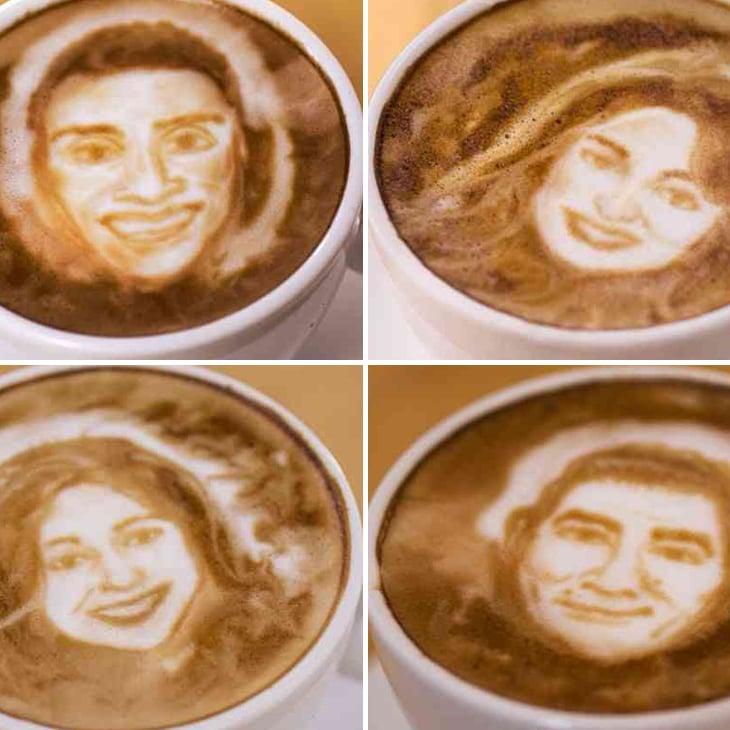 Celebrity Chef Portraits on Latte Foam