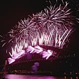 The Sydney Harbour Bridge in Australia was lit with fireworks on New Year's Eve.