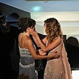 Jennifer congratulated her co-star Courteney Cox as the cast won their Emmy for outstanding comedy series in 2002.