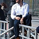 Jake Gyllenhaal hung around the NYC set of his film Demolition on Monday.