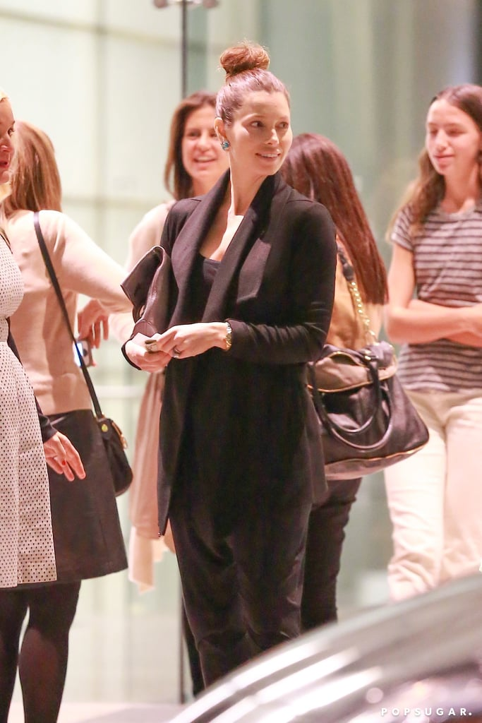 There still is no official confirmation that Jessica Biel is pregnant, but during an outing in Century City, CA, on Wednesday, she was noticeably glowing. She hid her belly underneath a flowing black tank top and loose blazer and carefully masked her midsection from view with a gray clutch. Despite her attempts to remain low-key, Jessica didn't look like she was hiding at all as she smiled and laughed with friends while leaving the CAA building. Despite numerous rumors popping up that Jessica is expecting, both Jessica and Justin Timberlake have kept quiet. However, fans have noticed a slight change in the actress's fit figure. Jessica showed what looked like a fuller midriff when she went on a hike with Justin in LA back in October after her bikini pictures first got people talking in September.