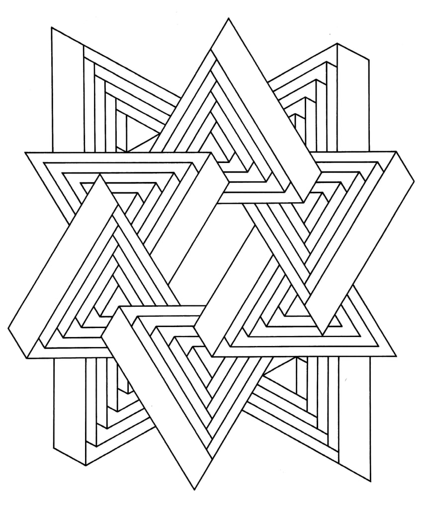 Get the coloring page Triangles Free Coloring Pages For Adults
