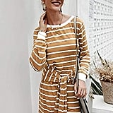 KIRUNDO Sweatshirt Front Tie Midi Dress