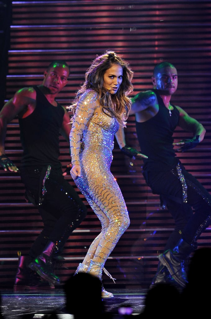 "Jennifer Lopez threw on her sequined catsuit Saturday for a show at the Mohegan Sun casino's 15th anniversary extravaganza. She was at the Uncasville, CT, location a few days earlier to debut her Jennifer Lopez for Kohl's collection as well. J Lo covered up her one-piece ensemble at the start of her show with a blazer from the Rachel Zoe Collection. She wasn't wearing the jacket, though, when things got emotional on stage. Jennifer Lopez cried about Marc Anthony, her estranged husband, during one number. Jennifer's romantic medley ""Until It Beats No More"" was apparently a tribute to Marc and her other great loves, Diddy, Cris Judd, and Ben Affleck. She referred to the track as a, ""trip down memory lane."" She added, ""I'm going to sing you the last song I wrote about love. . . .  A lot has changed since then."""