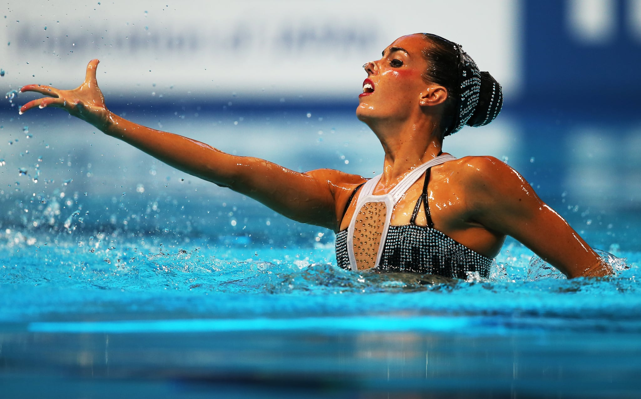 KAZAN, RUSSIA - JULY 29:  Ona Carbonell of Spain competes in the Solo Free Syncronised swimming final during day five of the 16th FINA World Aquatics Championships on July 29, 2015 at the Kazan Arena in Kazan, Russia. (Photo by Ian MacNicol/Getty Images)