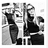 Candice Swanepoel wore all black during a sunny day in NYC. Source: Instagram user angelcandices