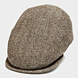 Lock & Co Drifter Flat Cap Moon Wool in Brown Herringbone