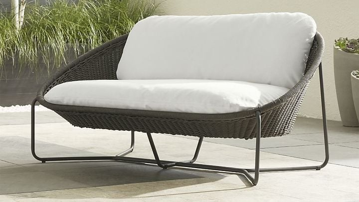 Crate & Barrel Morocco Charcoal Oval Loveseat with Cushion ($1,149)