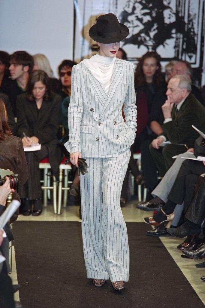 Lady Gaga's Vintage Jean Paul Gaultier Pinstripe Suit on the Runway in 1997