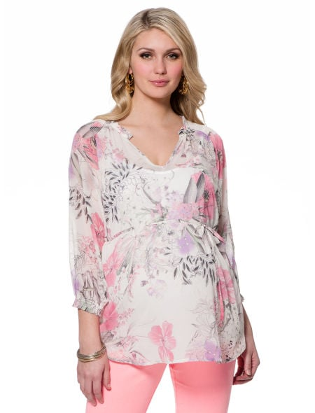 The pretty palette on the 3/4 Sleeve Smocked Maternity T Shirt ($49) makes it ideal for work, showers, or an afternoon with your girlfriends.