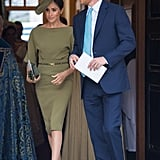 July: The couple steps out in style for Prince Louis's christening at St. James's Palace.