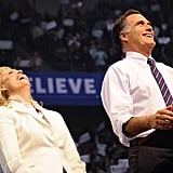 Mitt and Ann shared a good laugh on stage.