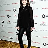 Actress Sophie McShera looked edgy in leather pants.