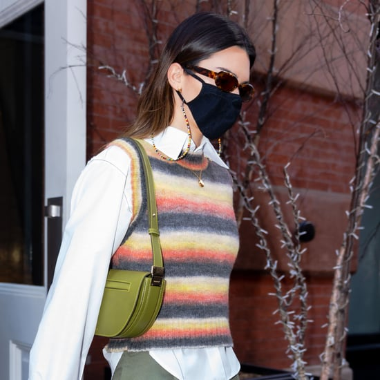 Kendall Jenner Wearing Multicolor Mango Sweater Vest